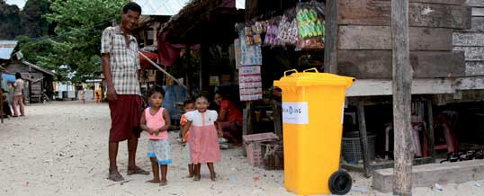 Delivering wheelie bins to the Moken villagers of Bo Choo Island