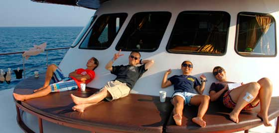 Relaxing on a Similan liveaboard