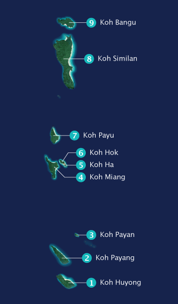 Map of the Similan Islands with names